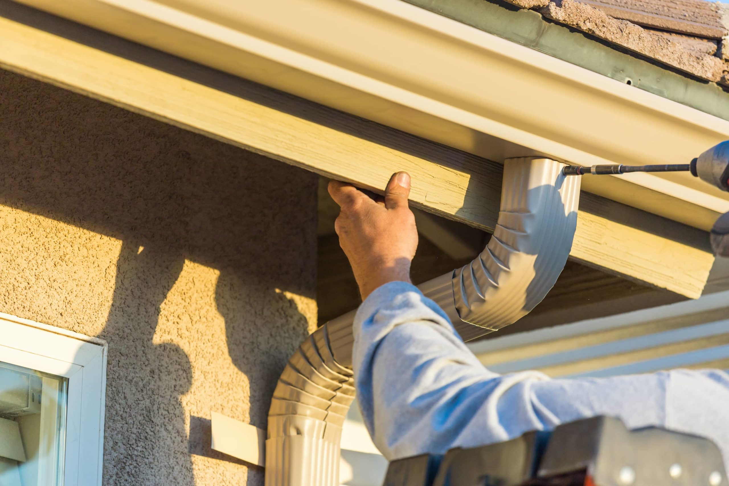 This is an image of a gutter installation service by a professional roofing contractor.