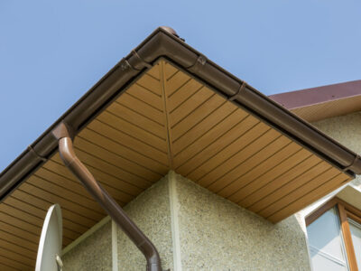 This is an image of a residential roof gutter installation.