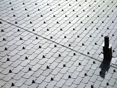 This is an image of a close up on metal roofing on a commercial property.